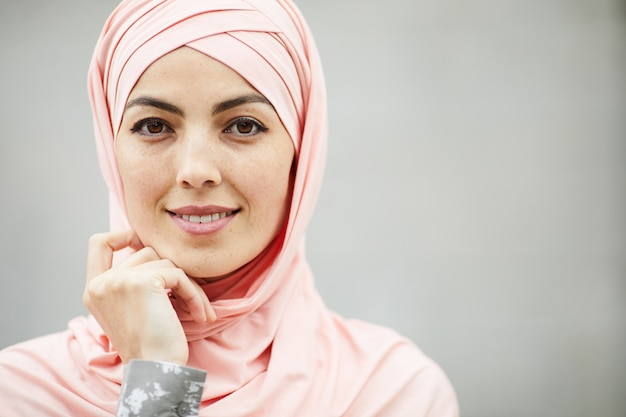 Pretty arabian woman in headscarf