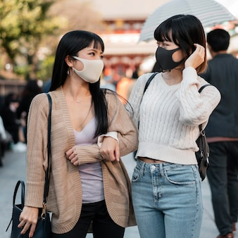 Pretty asian girls wearing face masks
