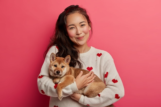Pretty asian housewife carries pedigree dog on hands, expresses love to pet, hugs puppy, wears casual jumper, stands with furry shiba inu, isolated over pink background.