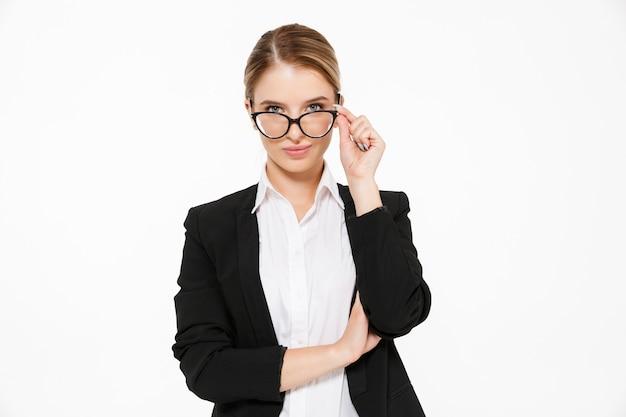 Pretty blonde business woman in eyeglasses