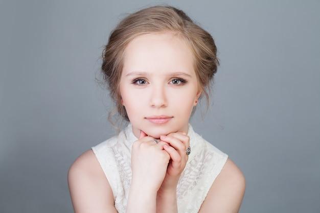 Pretty blonde girl fashion model young beauty