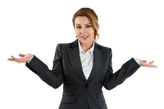 Pretty business woman holding her hands out saying that she does not know isolated. no idea concept