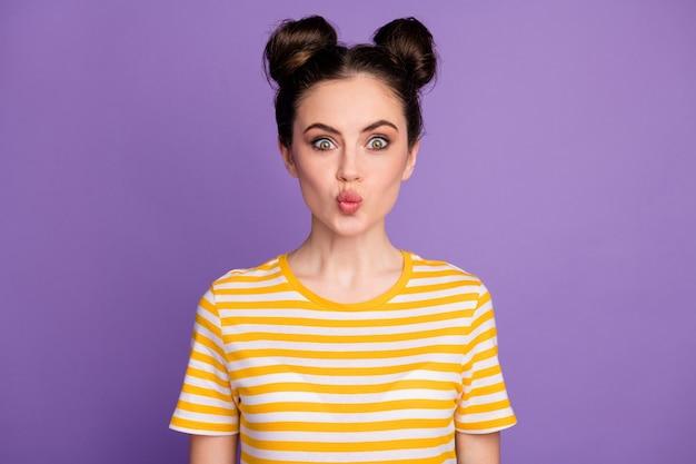 Pretty coquette youth girlfriend lips send air kiss