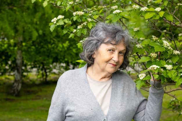 꽃이 만발한 나무 사이에서 공원을 산책하는 은퇴 연령의 예쁜 할머니. 꽃 나무와 공원에서 회색 머리 아름 다운 여자의 초상화. 봄과 많은 푸른 나무