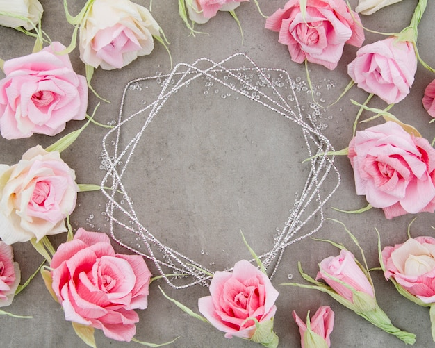 Pretty floral frame on cement background