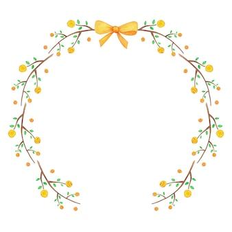 Pretty floral wreath made of yellow flowers and ribbon