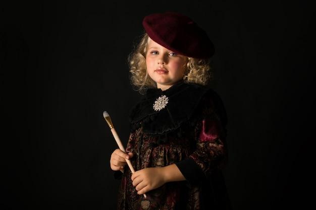 Pretty girl in brown old-fashioned costume