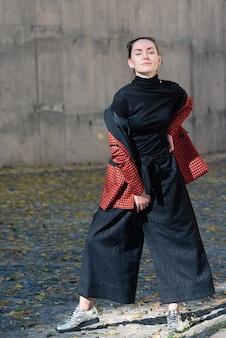 Pretty girl fashion street style portrait