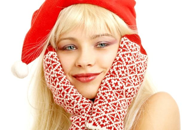 クリスマスの帽子のかわいい女の子