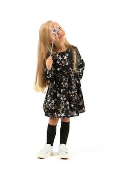 Pretty girl in magician costume