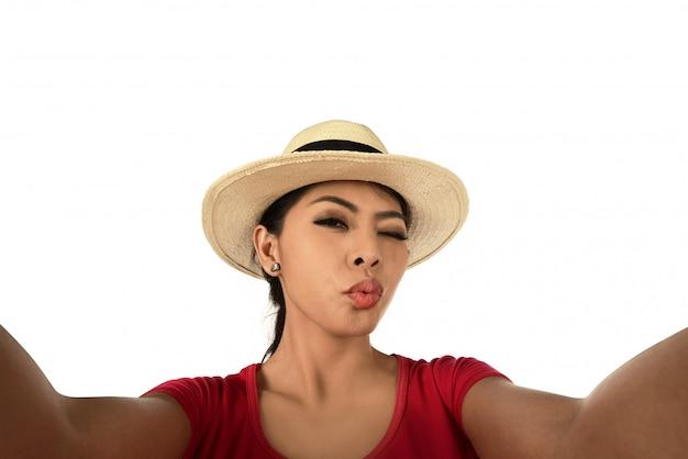 Pretty girl take a selfie portrait