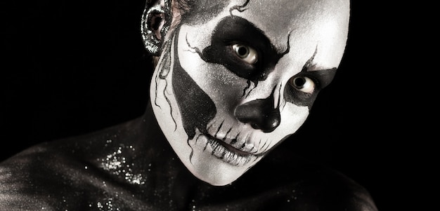 Pretty girl with skeleton make up