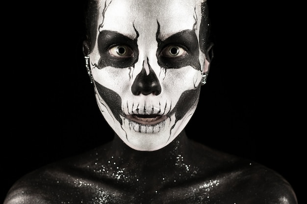 Pretty girl with skeleton paint