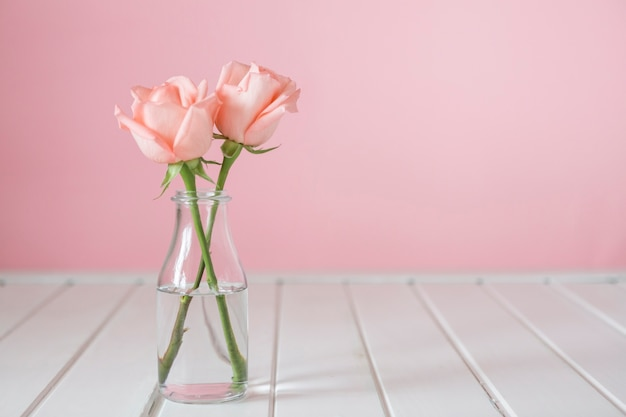 두 꽃과 예쁜 유리 꽃병