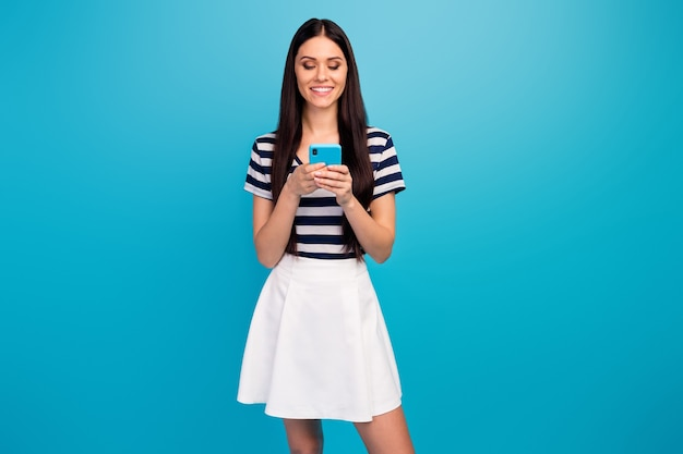 Pretty lady hold telephone hands popular influencer