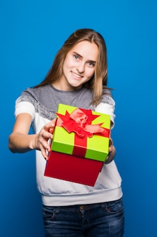 Pretty lady propose to you open bright giftbox