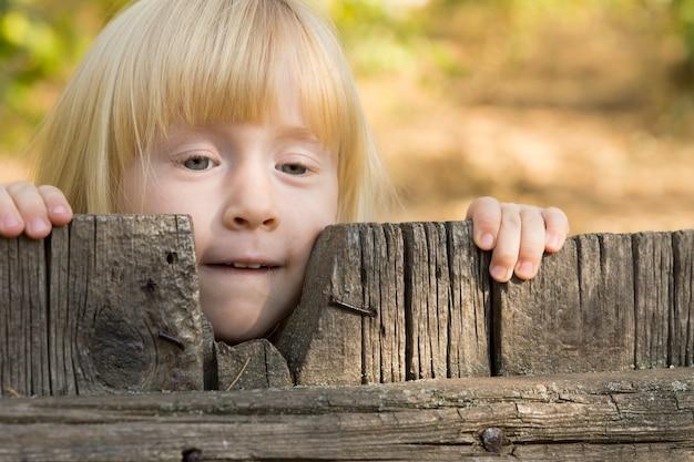 사려깊은 표정으로 오래된 소박한 나무 울타리를 들여다보고 있는 예쁜 금발 소녀