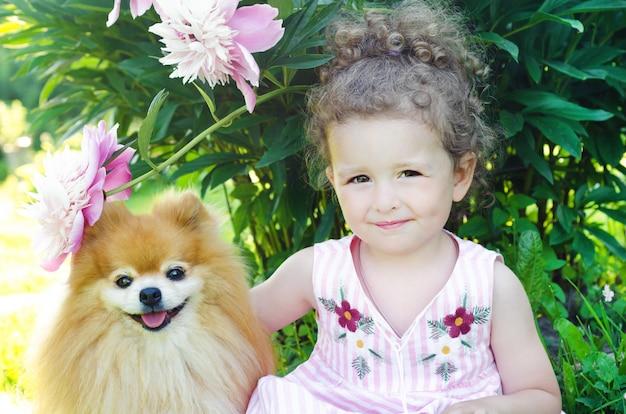 Симпатичная маленькая девочка, обнимая ее померанский шпиц