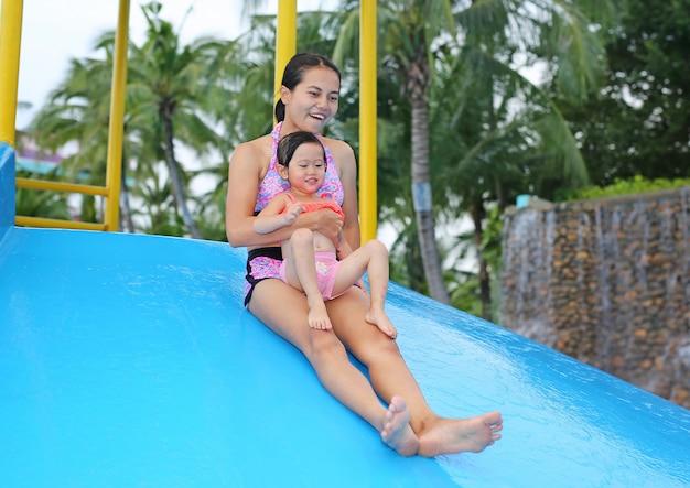 Хорошенькая девочка со своей матерью сползает в бассейн на открытом воздухе
