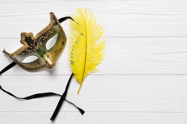 Pretty mask near feather