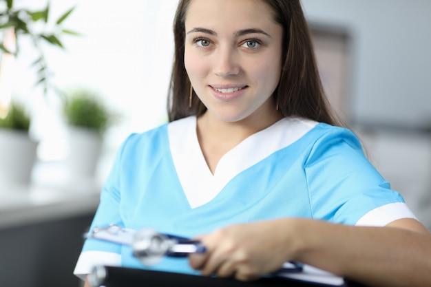 Pretty physician in clinic
