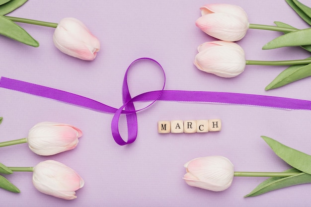 예쁜 리본 기호 및 꽃 무료 사진