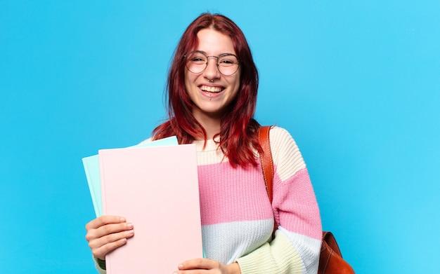 폴더와 예쁜 학생 여자