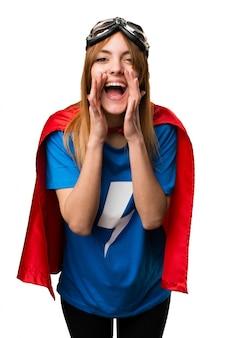 Pretty superhero girl shouting