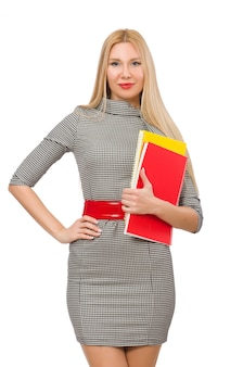Pretty teacher holding books isolated on white
