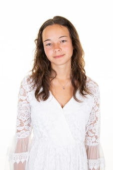 Pretty teenager girl with curly hair dressed casually looking with satisfaction camera
