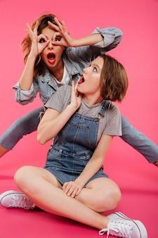 Pretty two women friends have fun