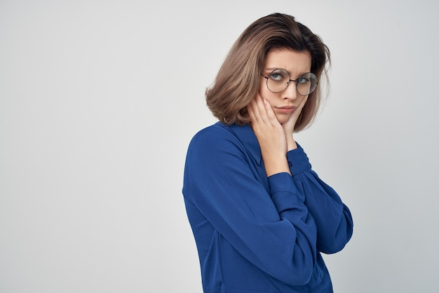 Pretty woman in blue shirt professional manager office executive
