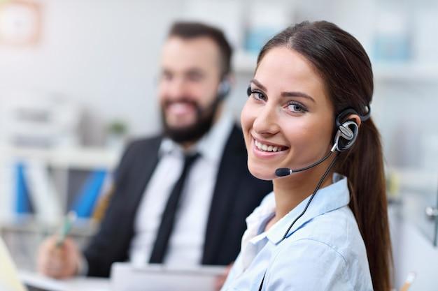 Pretty woman in call center
