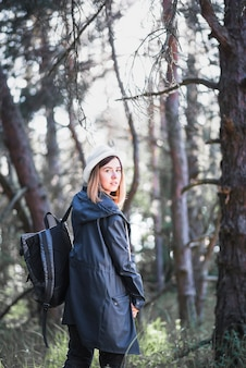 Pretty woman in forest