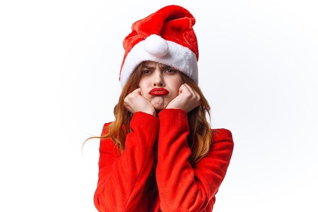 サンタクロースの衣装ファッション感情のきれいな女性がクローズアップ