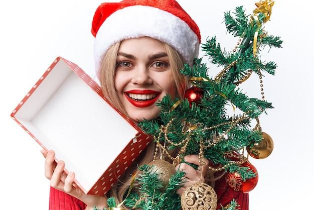 サンタの衣装できれいな女性楽しいギフト休日