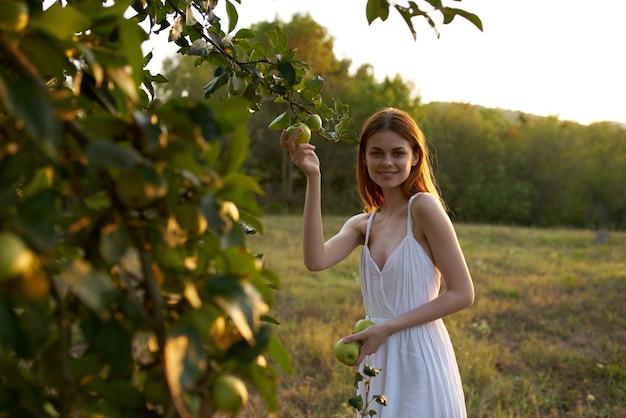 白いドレスのきれいな女性自然フルーツライフスタイルりんご