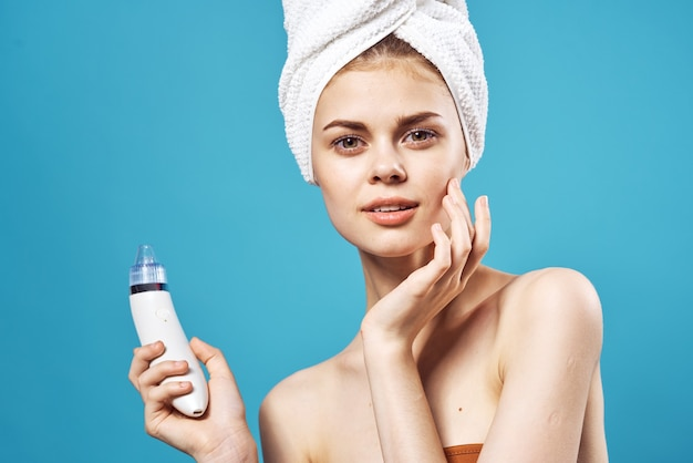 Pretty woman naked shoulders spa treatments skin cleaning. high quality photo