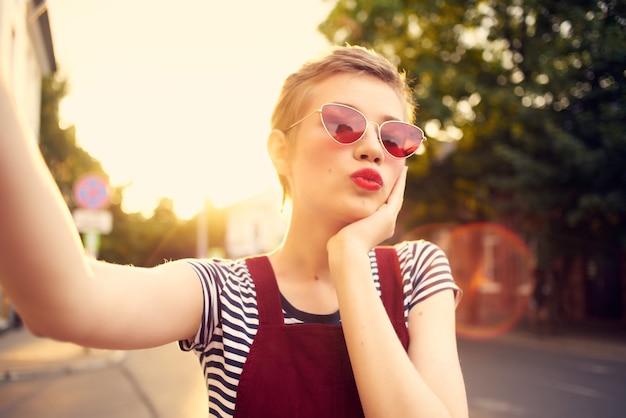 Pretty woman outdoors city walk fashion leisure