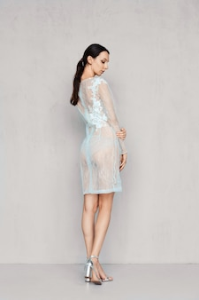 Pretty woman in pale transparent tulle dress with lace posing near the wall