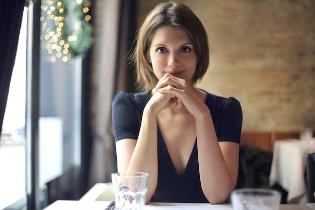 Pretty woman in a restaurant
