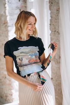Pretty woman wearing tshirt