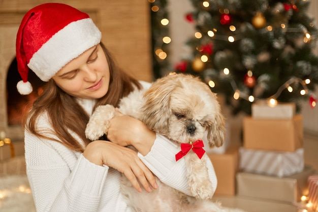 Pretty woman wears santa hat and white jumper, holds her dog, have fun together, spend winter holidays at home near decorated green christmas tree and fireplace in living room.