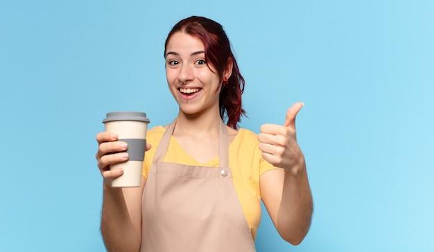 Красивая женщина с кофе на вынос