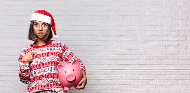 Pretty woman with santa hat
