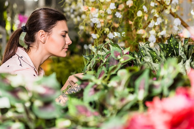 Pretty woman working in green house