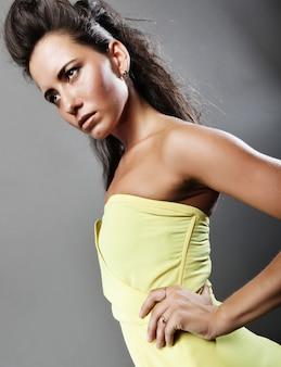Pretty woman in yellow dress