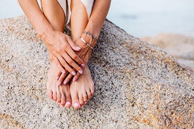 Pretty womans manicure and pedicure
