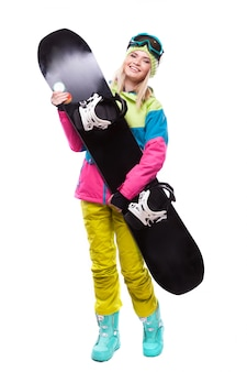 Pretty young blonde woman in colorful snow coat hold snowboard