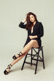 Pretty young sexy fashion sensual woman posing